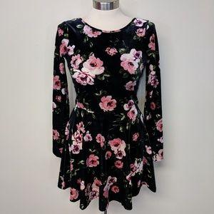 Bethany Mota Floral Velvet Dress